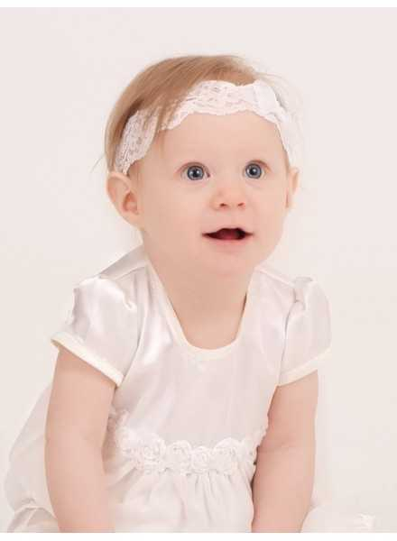 Lace Headband with Rosette with organza för baptism and party