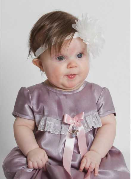organza rose Headband for baptism with lilac christening gown