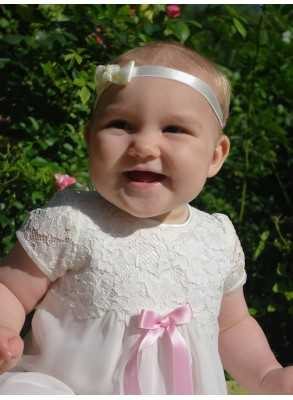 Headband with Rosette for girls baptism day and lace christening gown