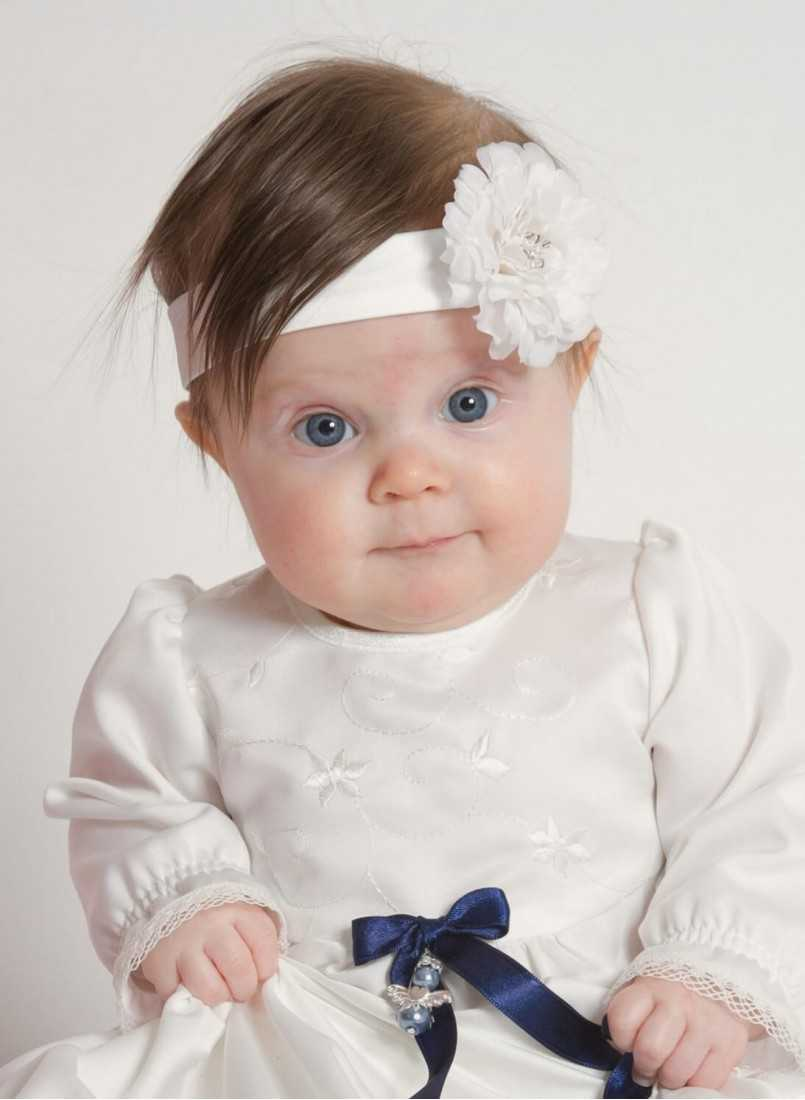 Diadem Exclusive handmade silk headband with beautiful unisex christening dress