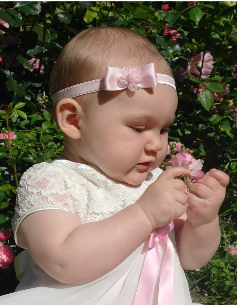 Rosa blommigt rosettdiadem