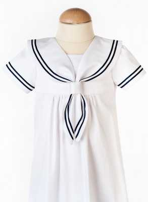 sailor dress for baptism in close-up