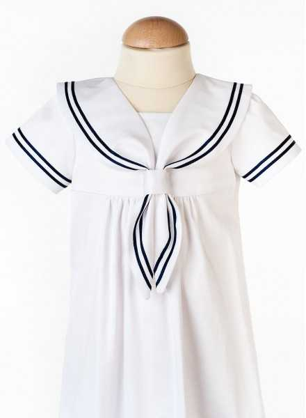 modern white Christening Gowns Cotton Sailor Dress with style