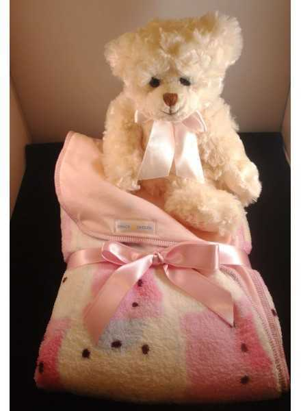 Baby blanket for girls with teddy bear