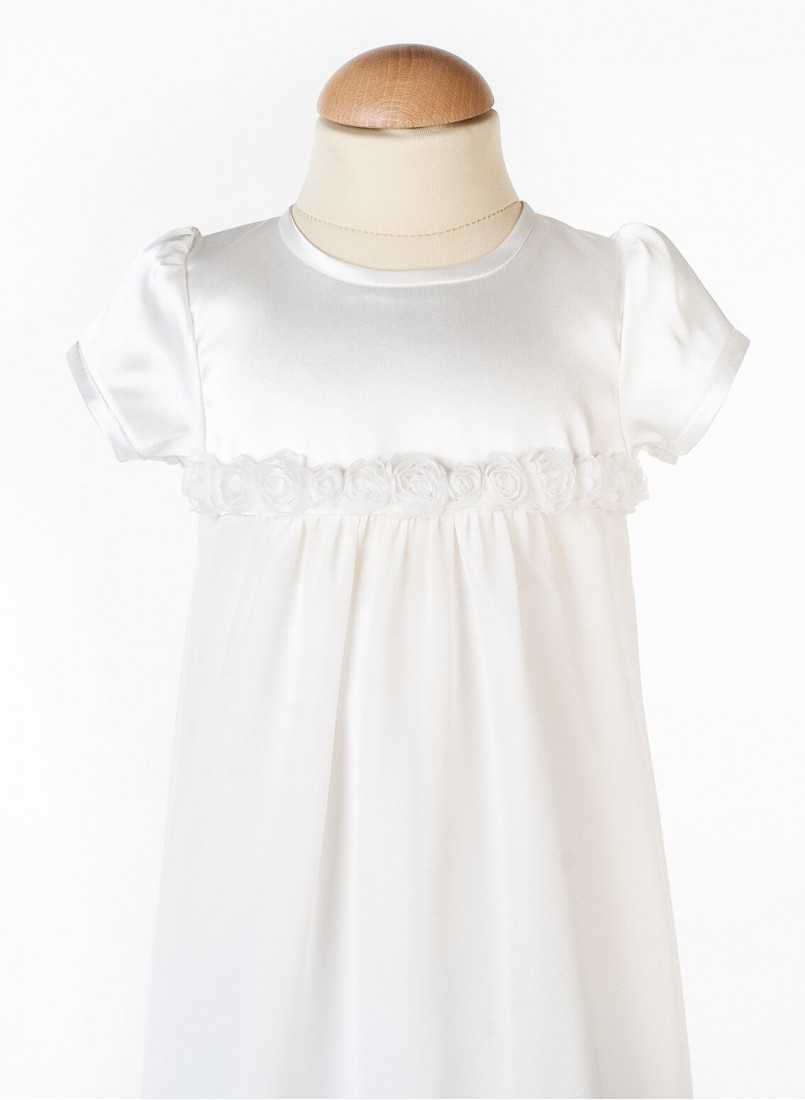 christening gown with rose decor and short sleeve