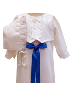 Baptism gown with luxurious vest and bonnet