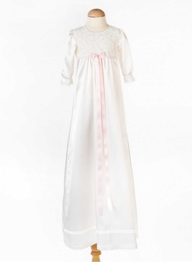 baptismal dress in full image with long sleeves