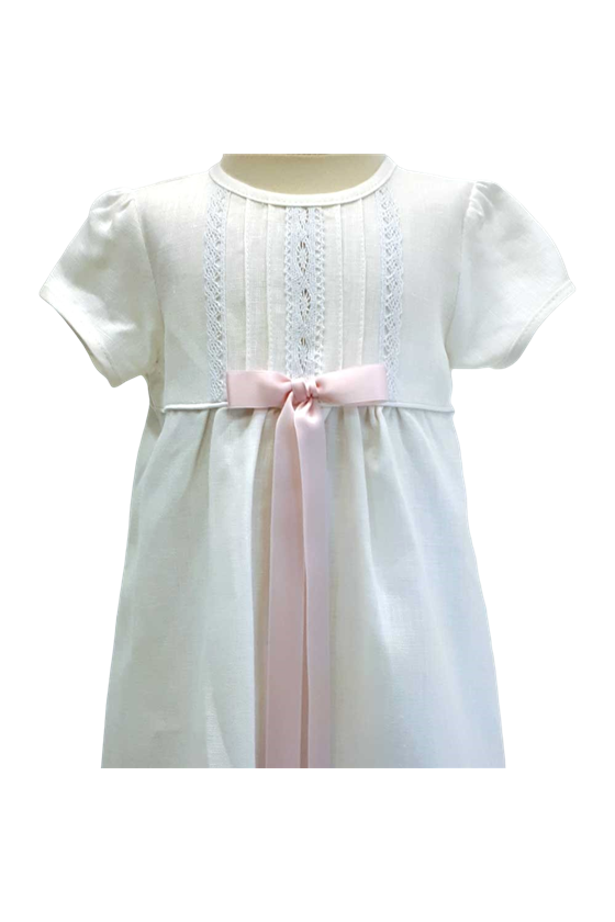 Off white special occasion dress in linen