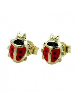 Ladybird earrings in gold