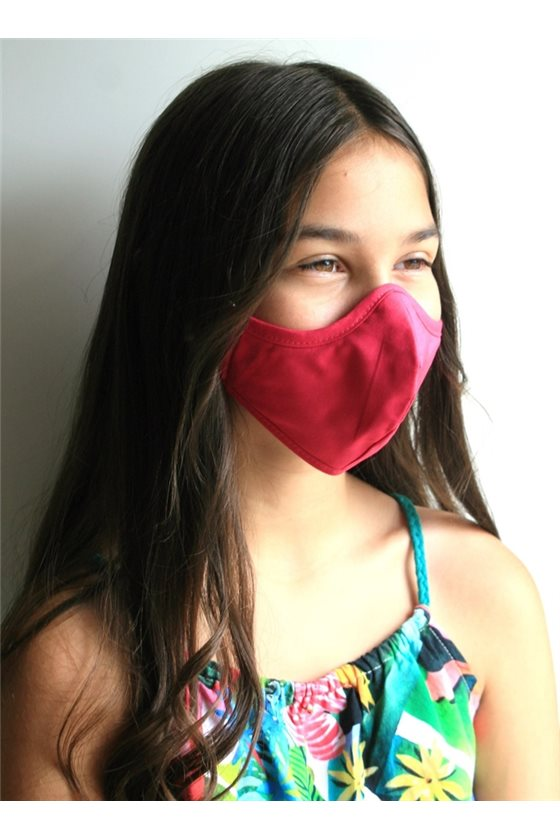pink cerist mouth protection mask for girls, washable in fabric and filter fabric