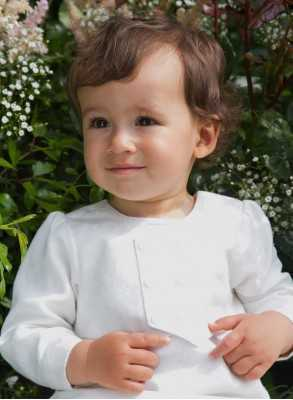 Christening gown Grace-Philip with white brocade vest