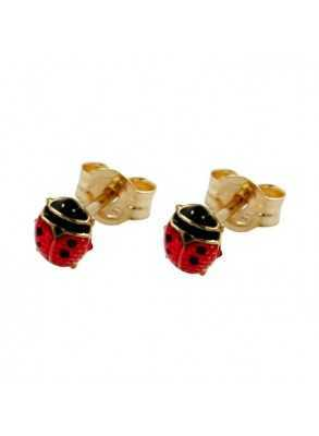 Cute gold earrings with ladybugs